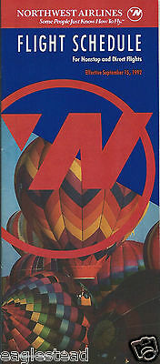 Airline Timetable - Northwest - 15/12/92 - Balloon Alberquerque cover