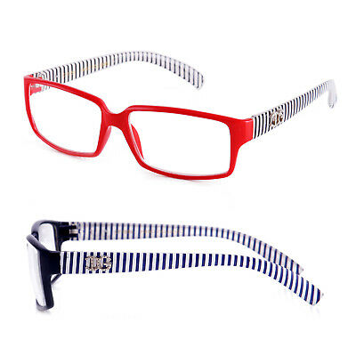 Women Clear Lens Fashion Glasses Rectangular Frame Vertical Stripe Temple