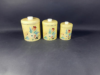 Vintage Mid-Century 1950's RANSBURG Yellow Floral Piece Canister Set