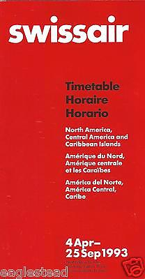 Airline Timetable - Swissair - 04/04/93 North Central America Caribbean edition