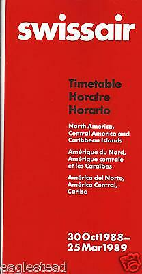 Airline Timetable - Swissair - 30/10/88 North Central America Caribbean edition