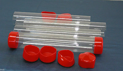 "2"" to 3"" Clear Plastic Packing Storage/Shipping Tube W/Cap U-Pick Color, Size"