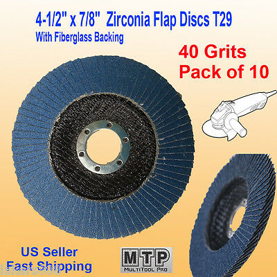 "10 Pack 4.5"" x 7/8"" 40 Grit Zirconia Flap Disc Grinding Sanding  Wheels T29 #40"