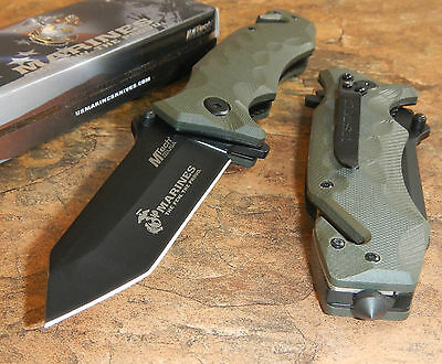 USMC Marines Tanto Spring Assisted Open Green G10 Tactical Rescue Pocket Knife