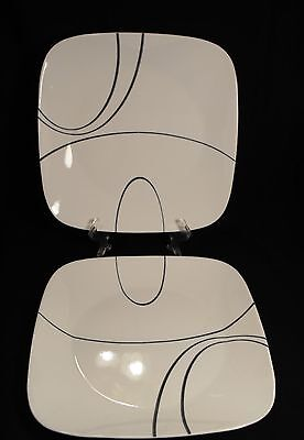 Two  Corelle Square  Simple Lines Dinner Plates    Black On White (New)
