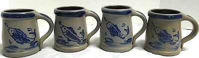 *RPW*Rowe Pottery Salt Glazed Lot of 4*Fish Mugs*Cups*2001*Lot of 4*Pristine*