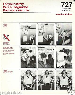 Safety Card - American - B727 Over Water - Flight Attendant photos (S3562)