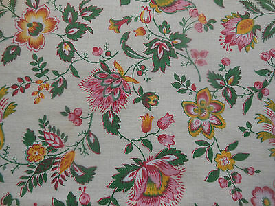 Antique Vintage Retro French Indienne Floral Cotton Fabric ~Yellow Pink Green