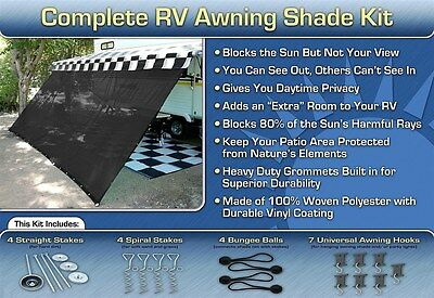 RV Awning Shade Motorhome Trailer Black Awning Shade Complete Kit 8x18