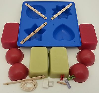 Candle making kit. Mould, wick, wax, instructions ~ Fun shapes edition