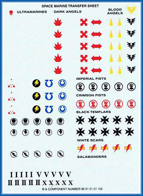 40K Space Marine Transfer Sheet NEW