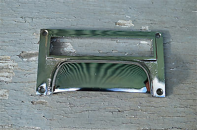Superb Chrome Retro Style Filing Cabinet Handle Drawer Label File Pull Cr6