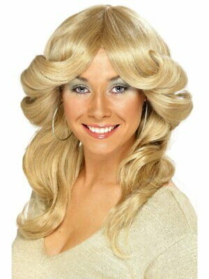 1970's Flick Wig Blonde Long Wavy and Layered Fancy Dress Costume Accessory
