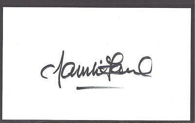 A 13cm x 7.5cm Plain White Card Signed by Willie McFaul. Newcastle United.