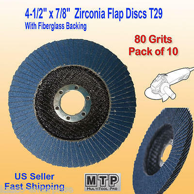 "10 Pack 4.5"" x 7/8"" 80 Grit Zirconia Flap Disc Grinding Sanding  Wheels T29 #80"