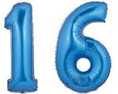 Sweet Sixteen 16 16th Blue Boy Birthday Party Numbers Mylar Balloons JUMBO 40""