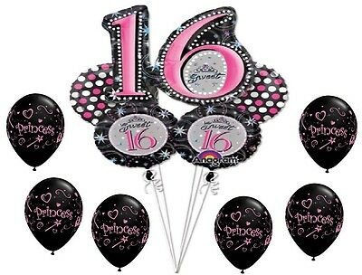 SWEET 16 16th Sixteen Black Pink Birthday PARTY (11) Mylar & Latex BALLOONS Set