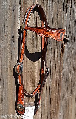 Buckaroo Floral Scalloped Browband Headstall Sterling Silver Sunflower Conchos