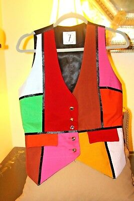 """Rare Vintage   Electric """"times 7""""   Jeweled  Button  Todd Oldham  Vest /m"""