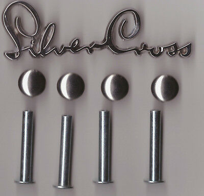 SILVER CROSS DOLLS OBERON PRAM SPARES - 4 x Screw Rivits - 4 x Chrome Caps