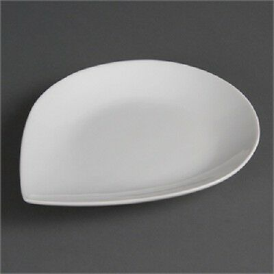 """6 x  Olympia Whiteware Tear Plates 255 x 207mm  10"""" x 8"""" White Catering  CB682"""