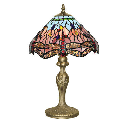 Searchlight 1 Light Dragonfly Tiffany Style Antique Weathered Bronze Table Lamp