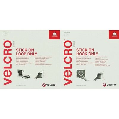 1m,5m,10m x 20mm White Velcro Hook & Loop Tape Stick On Individual