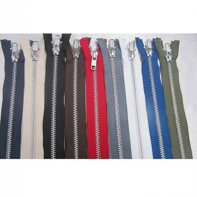 YKK Metal Silver Teeth Open Ended Zip Choice Of Length & Colour