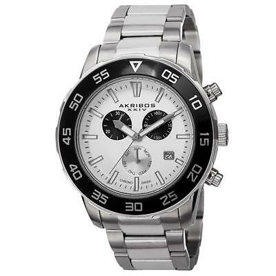 Akribos XXIV AK669SSW Swiss Quartz Chronograph Date Stainless Steel Mens Watch