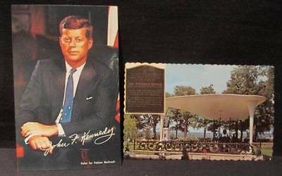 John F Kennedy by Fabian Bachrach & New Brunsick Memorial 2 Vintage Postcards