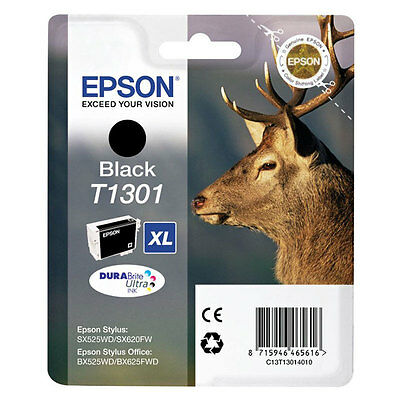 Genuine Epson T1301 Stag Ink Cartridge Black for Stylus BX320 BX525 SX525