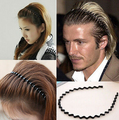 Men Women Unisex Wave Black Metal Sport Soccer Headband Hairband Gift