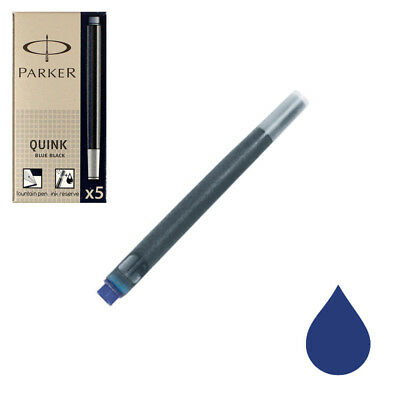 Pk/5 Parker Fountain Pen Ink Cartridges, Blue Black