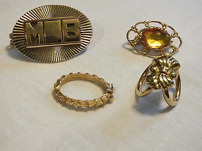 Beautiful Collectible Gold Tone Scarf Clip Set 4 Monogram Amber Rhinestone NICE