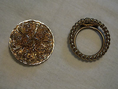 Beautiful Collectible Gold Tone Scarf Clip Set 2 Filigree Signed Western Germany