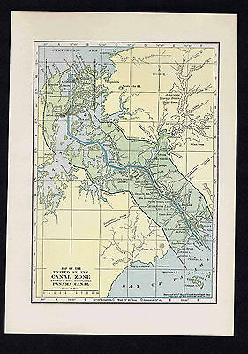 US CANAL ZONE - 1929 Map Print
