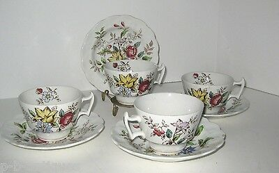Booths Fine China - 4 Teacups And Saucers; English  Flowerpiece Pattern