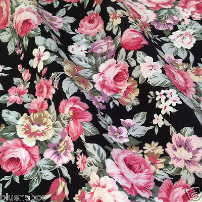 per 1/2 metre/FQ Black & Pink Victoria Rose fabric 100% COTTON POPLIN