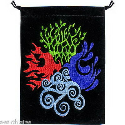 BLACK UNLINED VELVET BAG EMBROIDERED ELEMENTS Crystal Wicca Witch Pagan TAROT