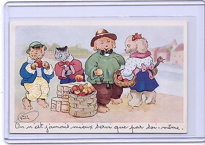 Vintage Dressed Cats And Dogs With Peaches Postcard Artist Signed Luce Andre