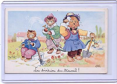 Vintage Dressed Cats And Dogs Gardening Postcard Artist Signed Luce Andre