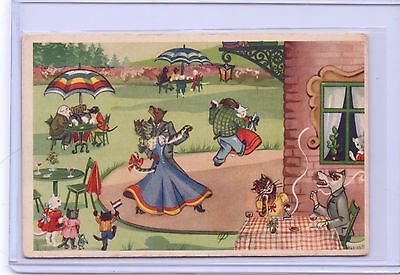 Vintage Dressed Cats Kittens And Dogs Square Dancing Postcard Pm 1953