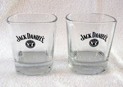 2 JACK DANIEL'S OLD NO 7 BRAND WHISKEY ROCKS GLASSES SQUARE 8 oz EMBOSSED BOTTOM