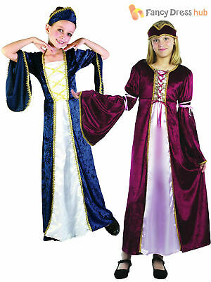Girls Medieval Royal Queen Tudor Costume Kids Fancy Dress Historical Book Week