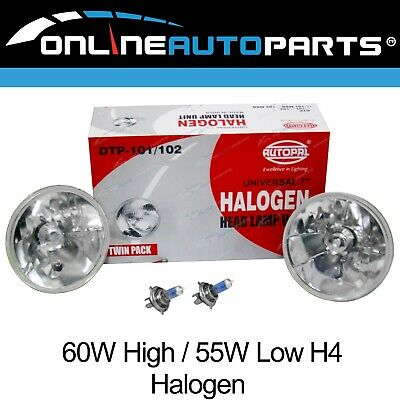 "H4 Halogen Bulb Headlight Upgrade Kit 2 x 7"" Round Lamps New suits Landcruiser"