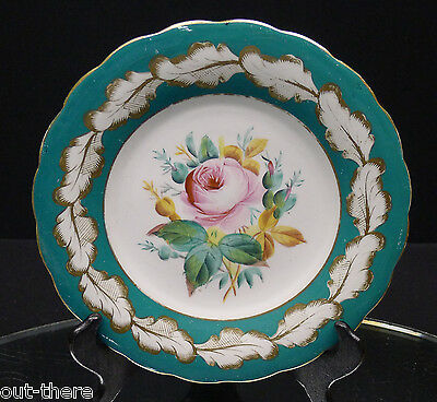 OLD PARIS--ROSE PLATE--LOVELY TEAL BORDER W/ GOLD FEATHERS--ROSE--BUY IT NOW