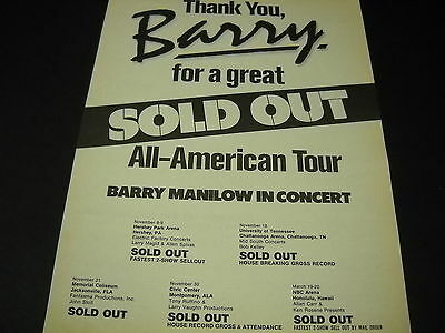 BARRY MANILOW 1983 Promo Poster Ad GREAT SOLD OUT ALL AMERICAN TOUR mint cond