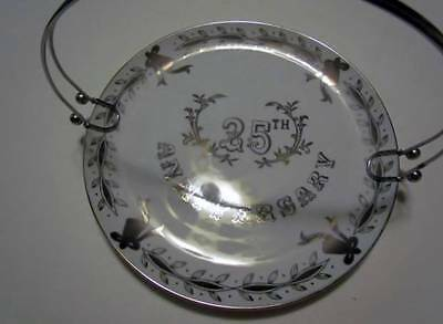 """Lefton China 25th Anniversary Plate with Handle #3697 10"""" Silver Trim"""