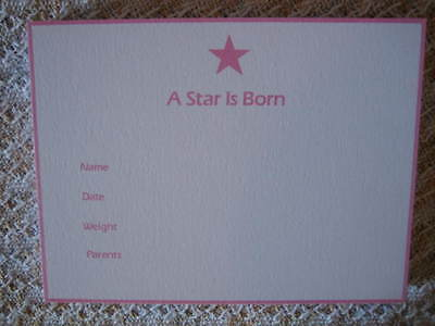 "25 C.R. Gibson Circa '80's ""A Star Is Born"" Birth Announcements Printed in Pink"