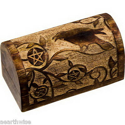 RAVEN & PENTACLE CARVED TIMBER CHEST LINED TAROT BOX Wicca Witch Pagan Goth
